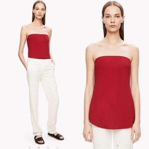 NWT Theory Zalballa Crepe Strapless Top, Red, 10